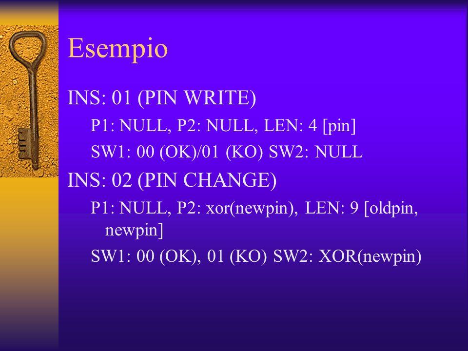 Esempio INS: 01 (PIN WRITE) P1: NULL, P2: NULL, LEN: 4 [pin] SW1: 00 (OK)/01 (KO) SW2: NULL INS: 02 (PIN CHANGE) P1: NULL, P2: xor(newpin), LEN: 9 [oldpin, newpin] SW1: 00 (OK), 01 (KO) SW2: XOR(newpin)