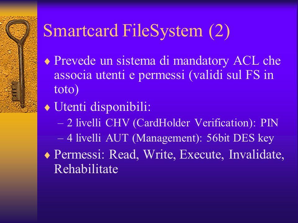 Smartcard FileSystem (2) Prevede un sistema di mandatory ACL che associa utenti e permessi (validi sul FS in toto) Utenti disponibili: –2 livelli CHV (CardHolder Verification): PIN –4 livelli AUT (Management): 56bit DES key Permessi: Read, Write, Execute, Invalidate, Rehabilitate