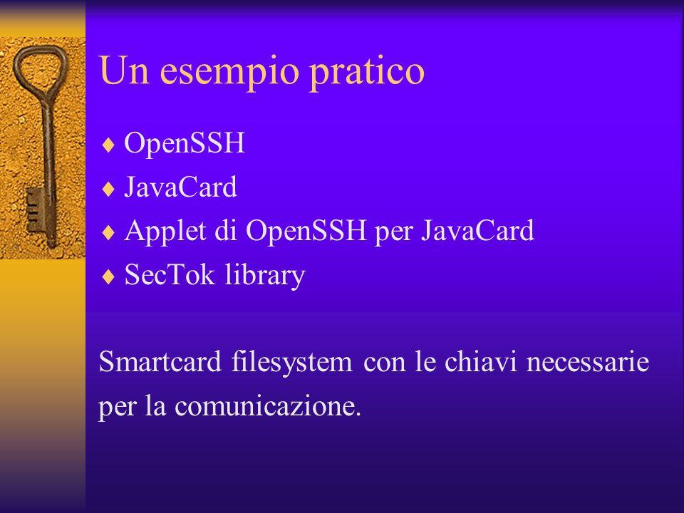 Un esempio pratico OpenSSH JavaCard Applet di OpenSSH per JavaCard SecTok library Smartcard filesystem con le chiavi necessarie per la comunicazione.