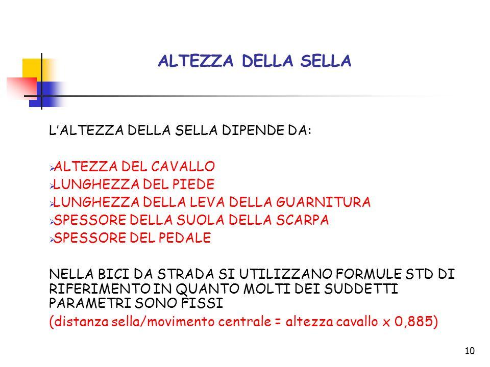 11 ALTEZZA DELLA SELLA NELLA MTB (sistema empirico) SALIRE IN SELLA E AGGANCIARE I PEDALI ESTENDERE COMPLETAMENTE UNA DELLA GAMBE (SENZA SPOSTARE IL BACINO DALLA SELLA) IN MODO CHE LA LEVA DELLA GUARNITURA SIA IL DIRETTO PROLUNGAMENTO DEL TUBO PIANTONE CON LALTEZZA DI SELLA CORRETTA, LA SUOLA DELLA SCARPA DEVE ESSERE ORIZZONTALE RISPETTO ALLA LINEA DI TERRA E NELLA ROTAZIONE ANTIORARIA NON SI DEVE ANCHEGGIARE (OSCILLAZIONI DEL BACINO SULLA SELLA) RIPETERE CON LA GAMBA OPPOSTA