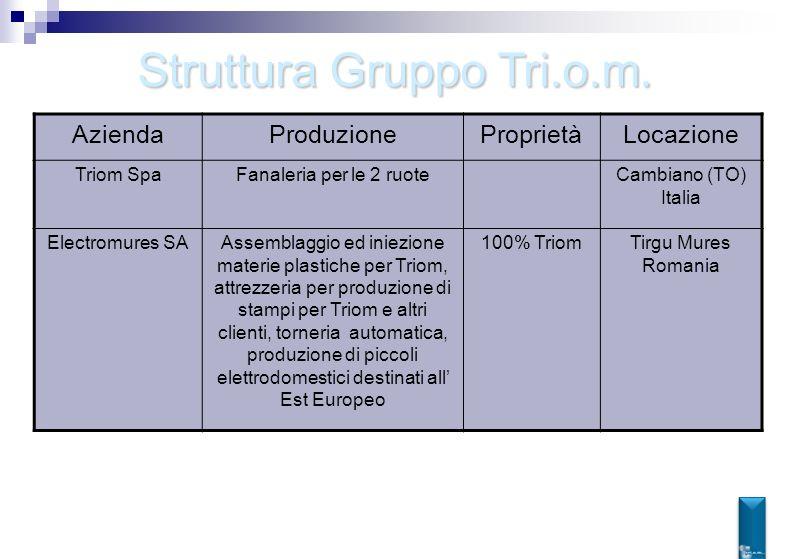 Struttura Gruppo Tri.o.m. AziendaProduzioneProprietàLocazione Triom SpaFanaleria per le 2 ruoteCambiano (TO) Italia Electromures SAAssemblaggio ed ini
