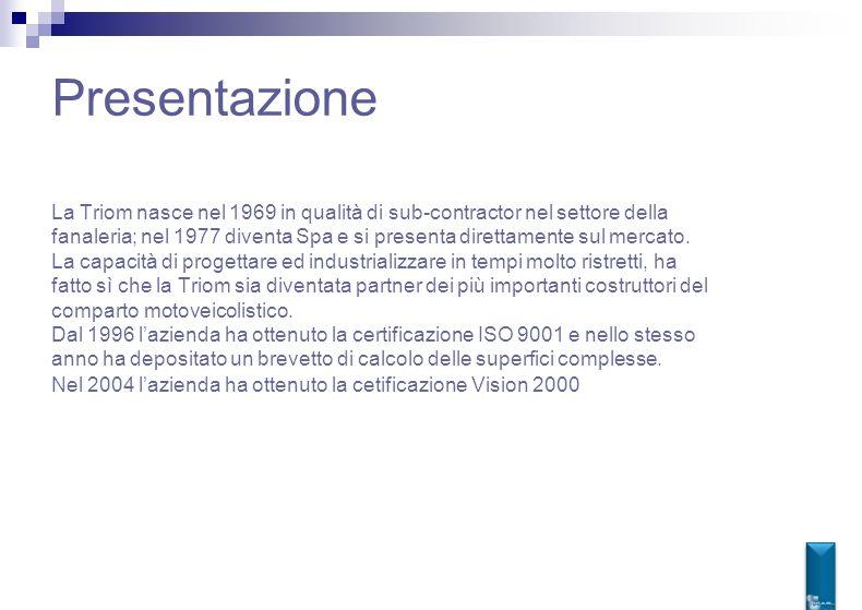 Presentazione La Triom nasce nel 1969 in qualità di sub-contractor nel settore della fanaleria; nel 1977 diventa Spa e si presenta direttamente sul me