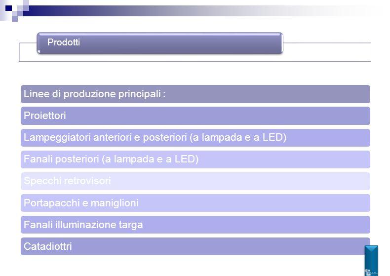 Prodotti Linee di produzione principali :ProiettoriLampeggiatori anteriori e posteriori (a lampada e a LED)Fanali posteriori (a lampada e a LED)Specch
