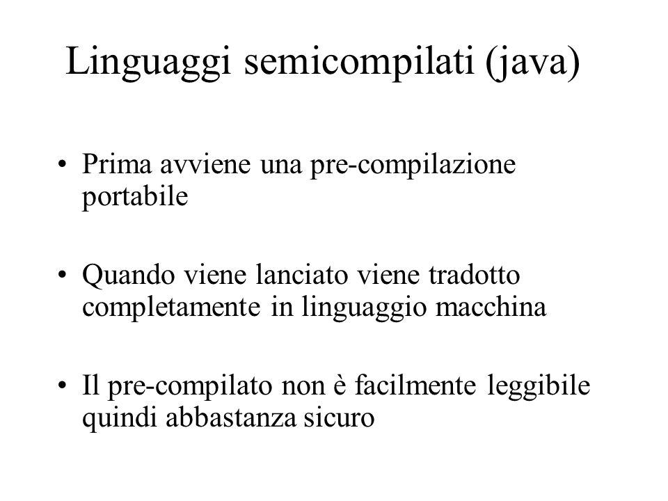 Linguaggi semicompilati (java) Prima avviene una pre-compilazione portabile Quando viene lanciato viene tradotto completamente in linguaggio macchina