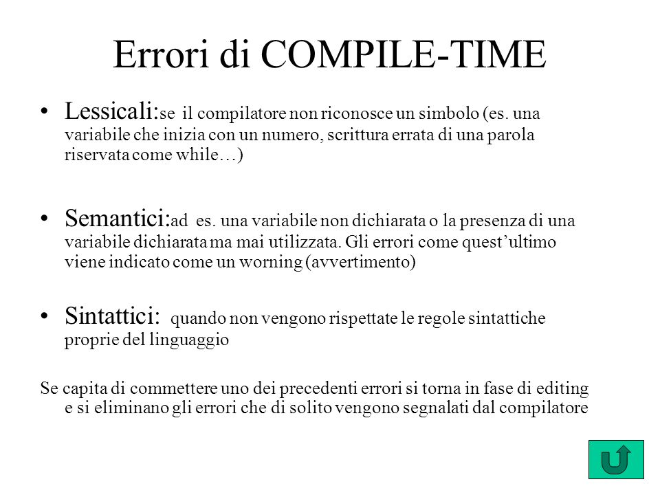 Errori di COMPILE-TIME Lessicali: se il compilatore non riconosce un simbolo (es. una variabile che inizia con un numero, scrittura errata di una paro