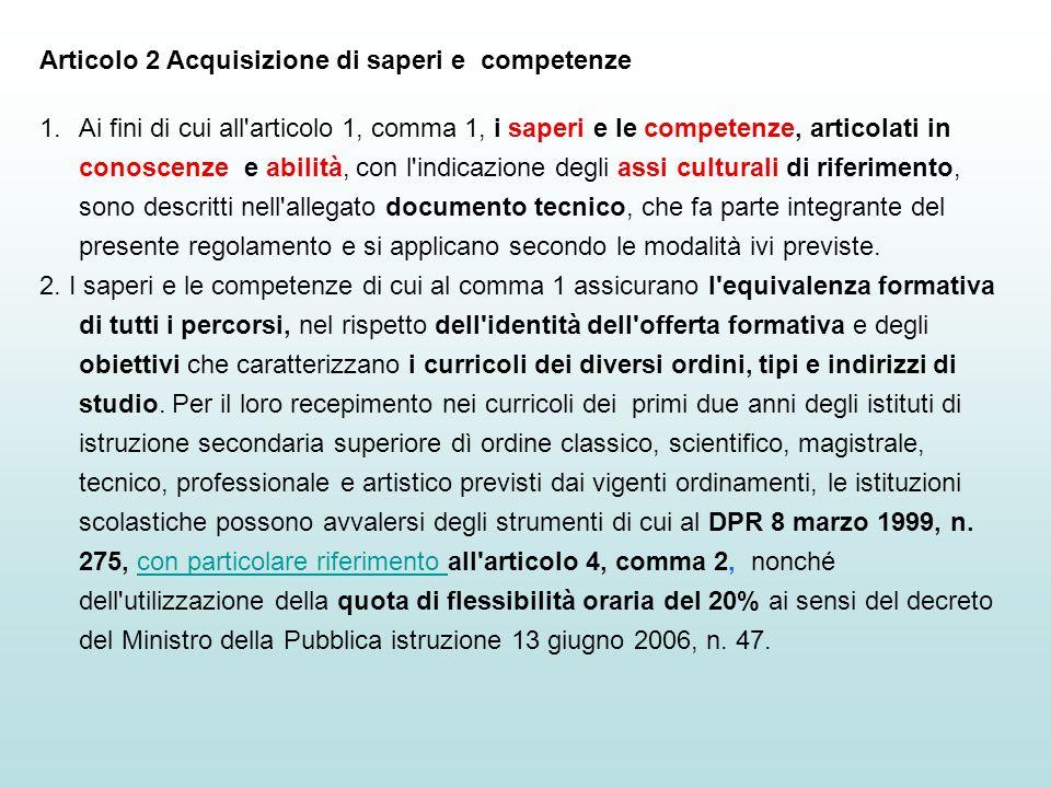 Articolo 2 Acquisizione di saperi e competenze 1.Ai fini di cui all'articolo 1, comma 1, i saperi e le competenze, articolati in conoscenze e abilità,