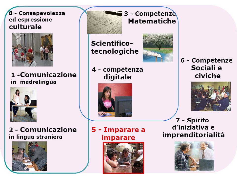 3 - Competenze Matematiche Scientifico- tecnologiche 4 - competenza digitale 6 - Competenze Sociali e civiche 7 - Spirito diniziativa e imprenditorial