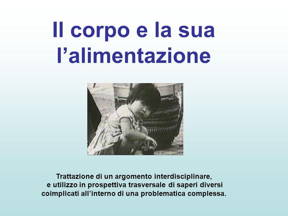 Il corpo e la sua lalimentazione Trattazione di un argomento interdisciplinare, e utilizzo in prospettiva trasversale di saperi diversi coimplicati al