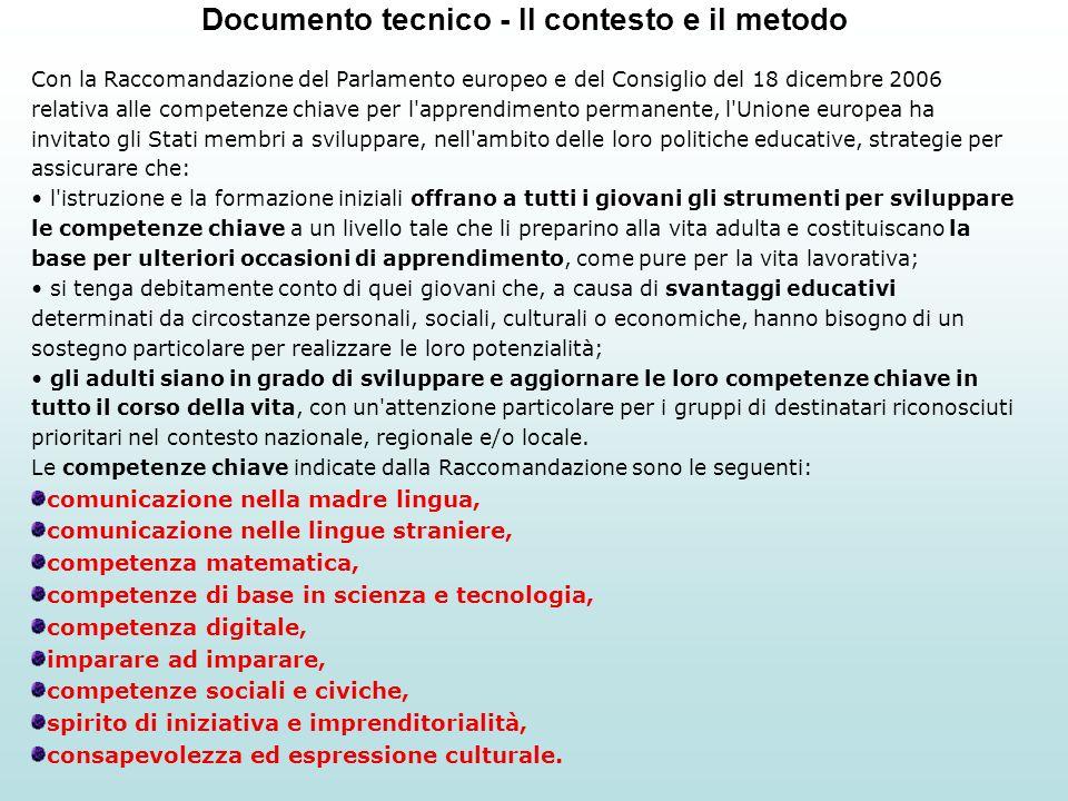 Documento tecnico - Il contesto e il metodo Con la Raccomandazione del Parlamento europeo e del Consiglio del 18 dicembre 2006 relativa alle competenz