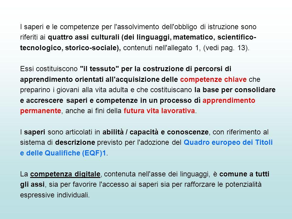 I saperi e le competenze per l'assolvimento dell'obbligo di istruzione sono riferiti ai quattro assi culturali (dei linguaggi, matematico, scientifico