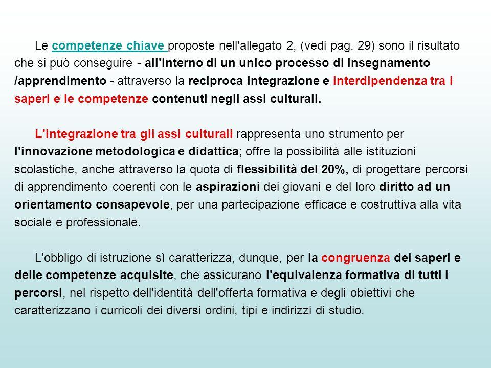 Le competenze chiave proposte nell'allegato 2, (vedi pag. 29) sono il risultato che si può conseguire - all'interno di un unico processo di insegnamen