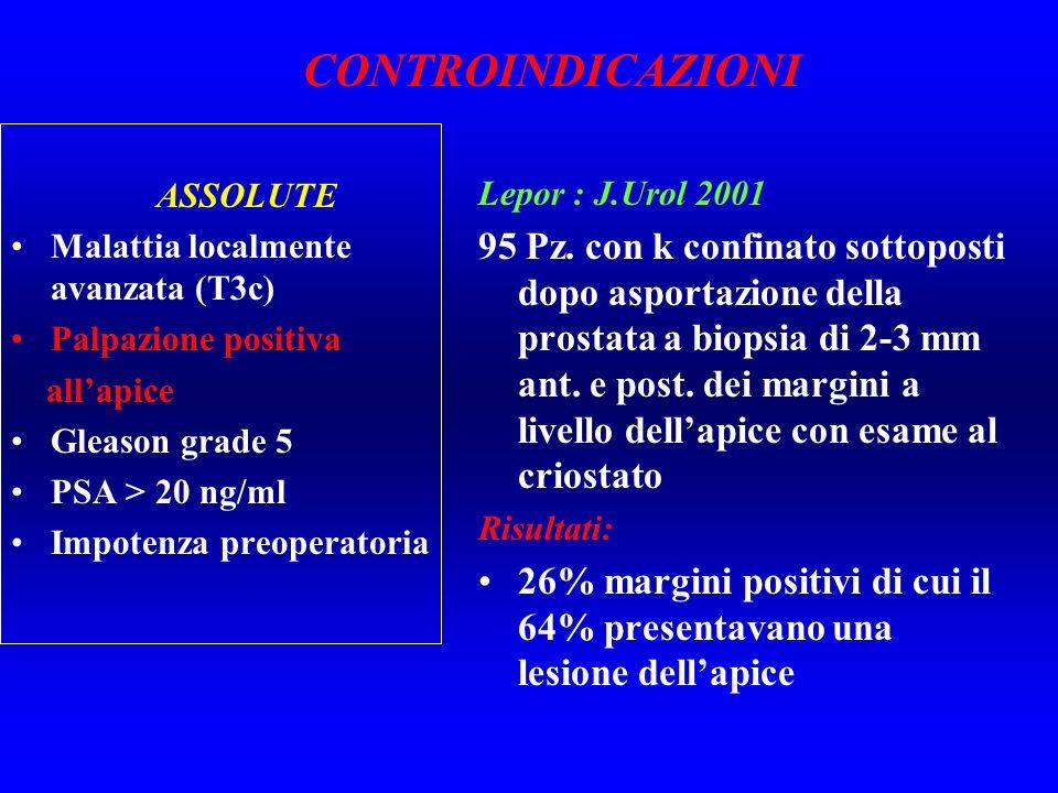 ASSOLUTE Malattia localmente avanzata (T3c) Palpazione positiva allapice Gleason grade 5 PSA > 20 ng/ml Impotenza preoperatoria Lepor : J.Urol 2001 95
