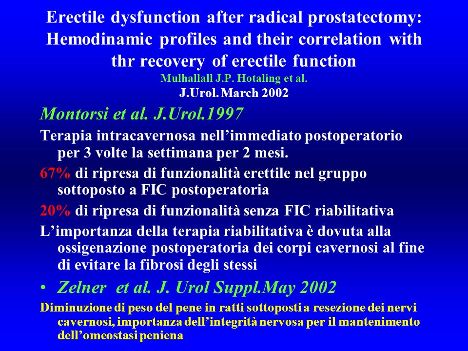 Erectile dysfunction after radical prostatectomy: Hemodinamic profiles and their correlation with thr recovery of erectile function Mulhallall J.P. Ho
