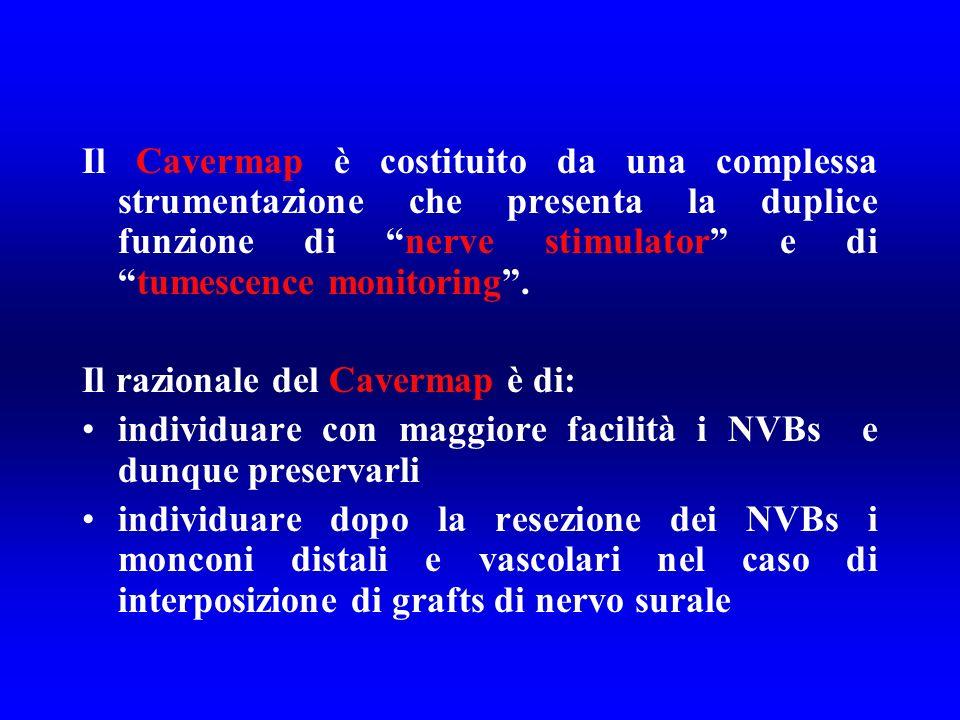 Il Cavermap è costituito da una complessa strumentazione che presenta la duplice funzione di nerve stimulator e ditumescence monitoring. Il razionale