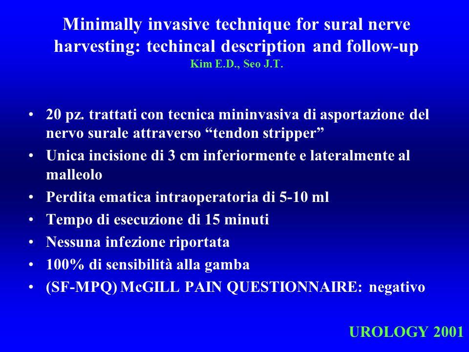 Minimally invasive technique for sural nerve harvesting: techincal description and follow-up Kim E.D., Seo J.T. 20 pz. trattati con tecnica mininvasiv