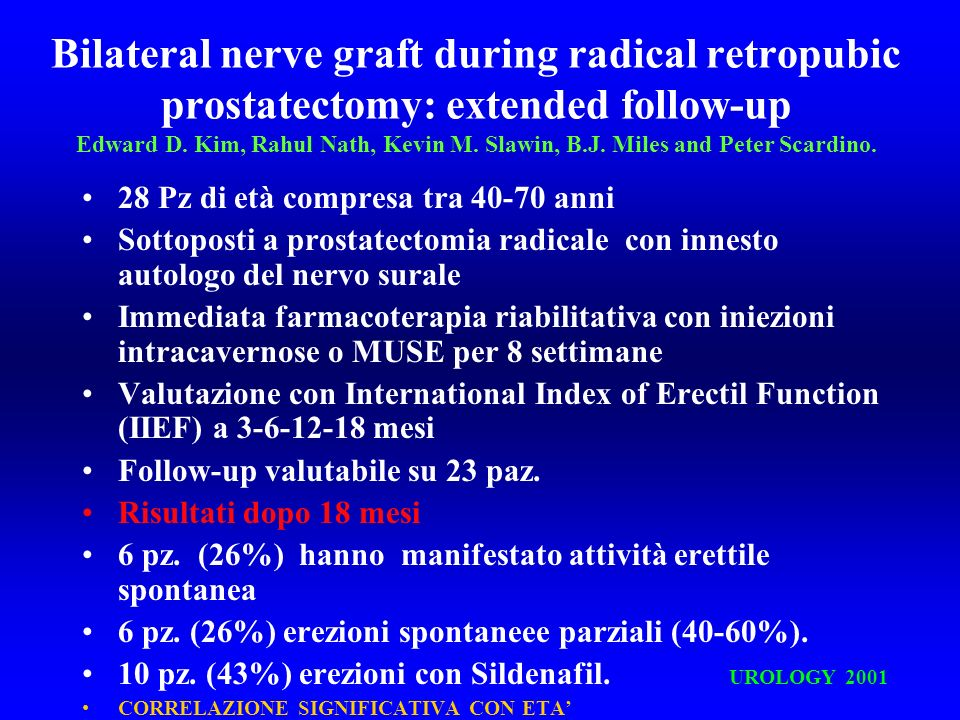Bilateral nerve graft during radical retropubic prostatectomy: extended follow-up Edward D. Kim, Rahul Nath, Kevin M. Slawin, B.J. Miles and Peter Sca