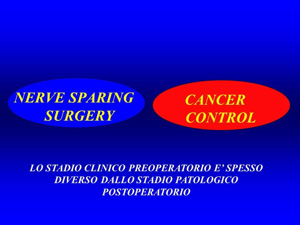 NERVE SPARING SURGERY CANCER CONTROL LO STADIO CLINICO PREOPERATORIO E SPESSO DIVERSO DALLO STADIO PATOLOGICO POSTOPERATORIO