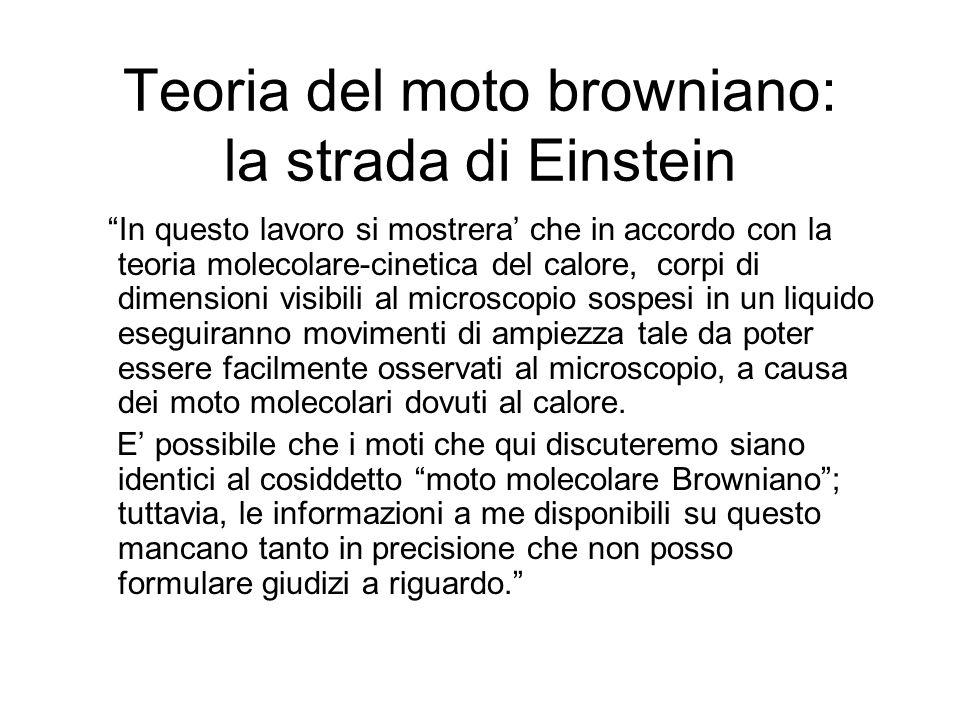 Teoria del moto browniano: la strada di Einstein In questo lavoro si mostrera che in accordo con la teoria molecolare-cinetica del calore, corpi di di