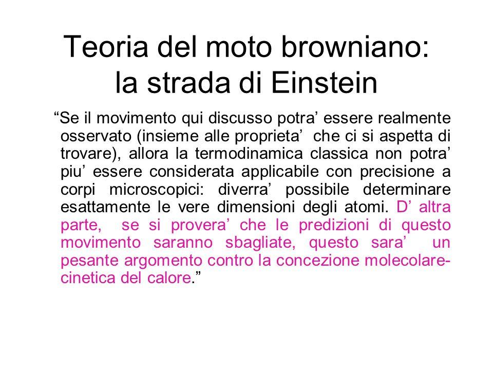 Teoria del moto browniano: la strada di Einstein Se il movimento qui discusso potra essere realmente osservato (insieme alle proprieta che ci si aspet
