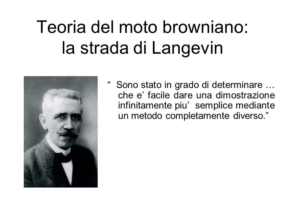 Teoria del moto browniano: la strada di Langevin Sono stato in grado di determinare … che e facile dare una dimostrazione infinitamente piu semplice m