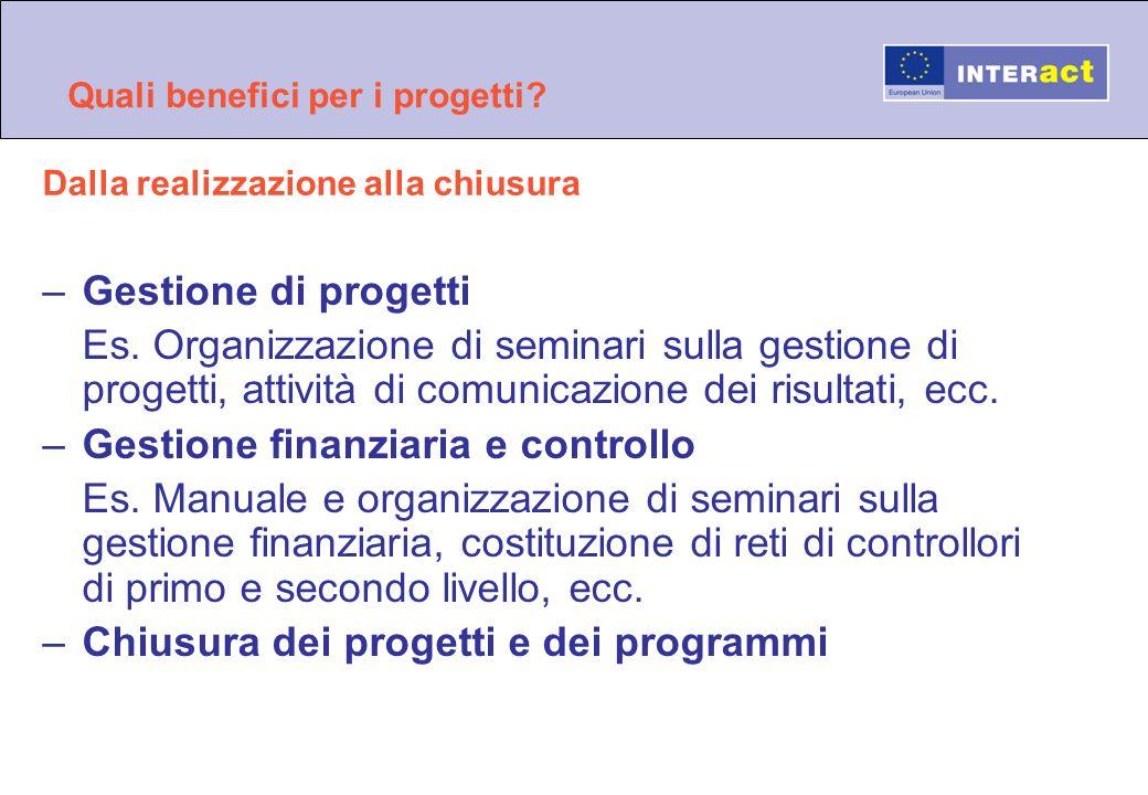 Quali benefici per i progetti? –Gestione di progetti Es. Organizzazione di seminari sulla gestione di progetti, attività di comunicazione dei risultat