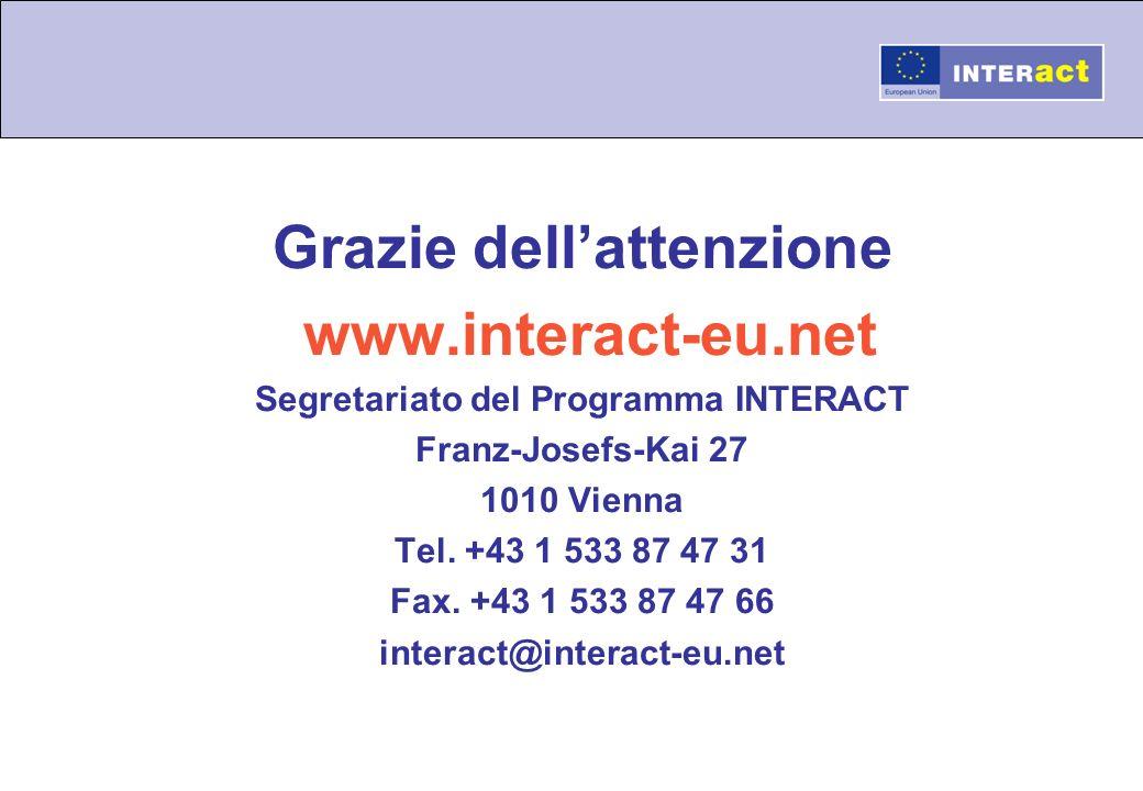 Grazie dellattenzione www.interact-eu.net Segretariato del Programma INTERACT Franz-Josefs-Kai 27 1010 Vienna Tel. +43 1 533 87 47 31 Fax. +43 1 533 8