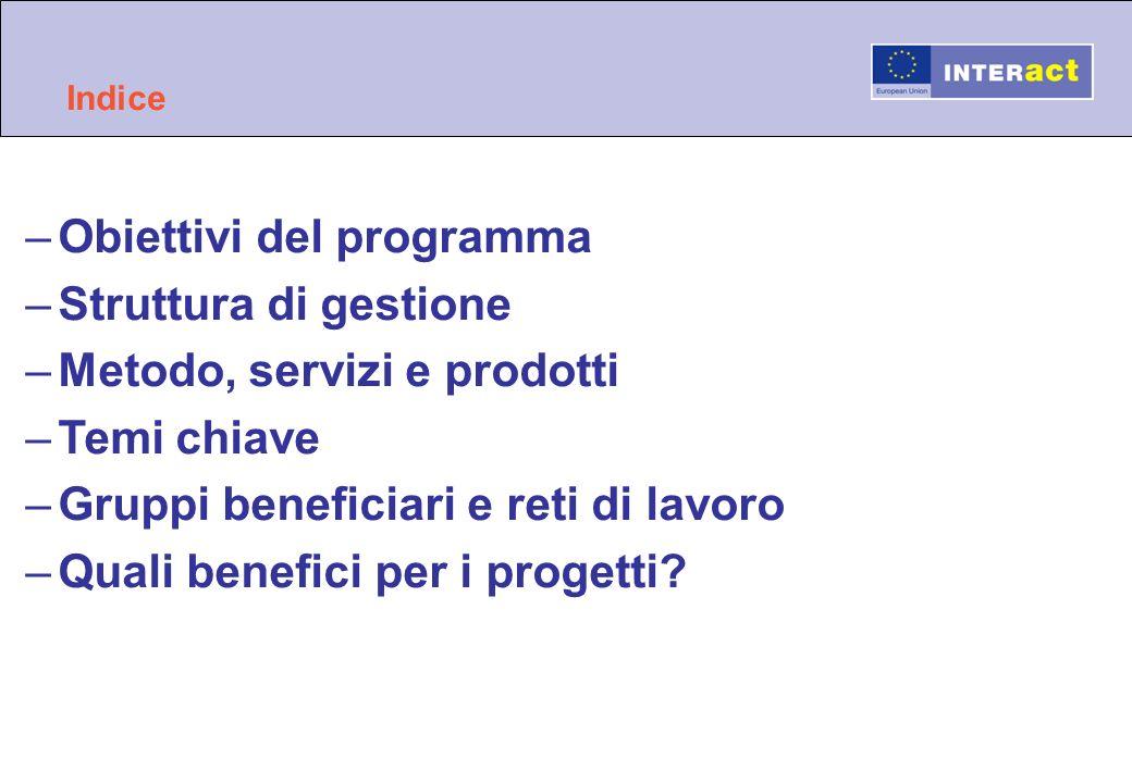 Indice –Obiettivi del programma –Struttura di gestione –Metodo, servizi e prodotti –Temi chiave –Gruppi beneficiari e reti di lavoro –Quali benefici p