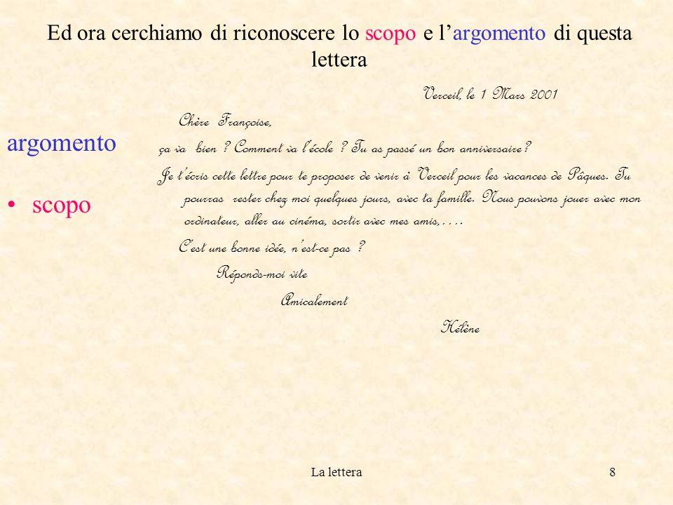La lettera8 Ed ora cerchiamo di riconoscere lo scopo e largomento di questa lettera argomento scopo Verceil, le 1 Mars 2001 Chère Françoise, ça va bien .