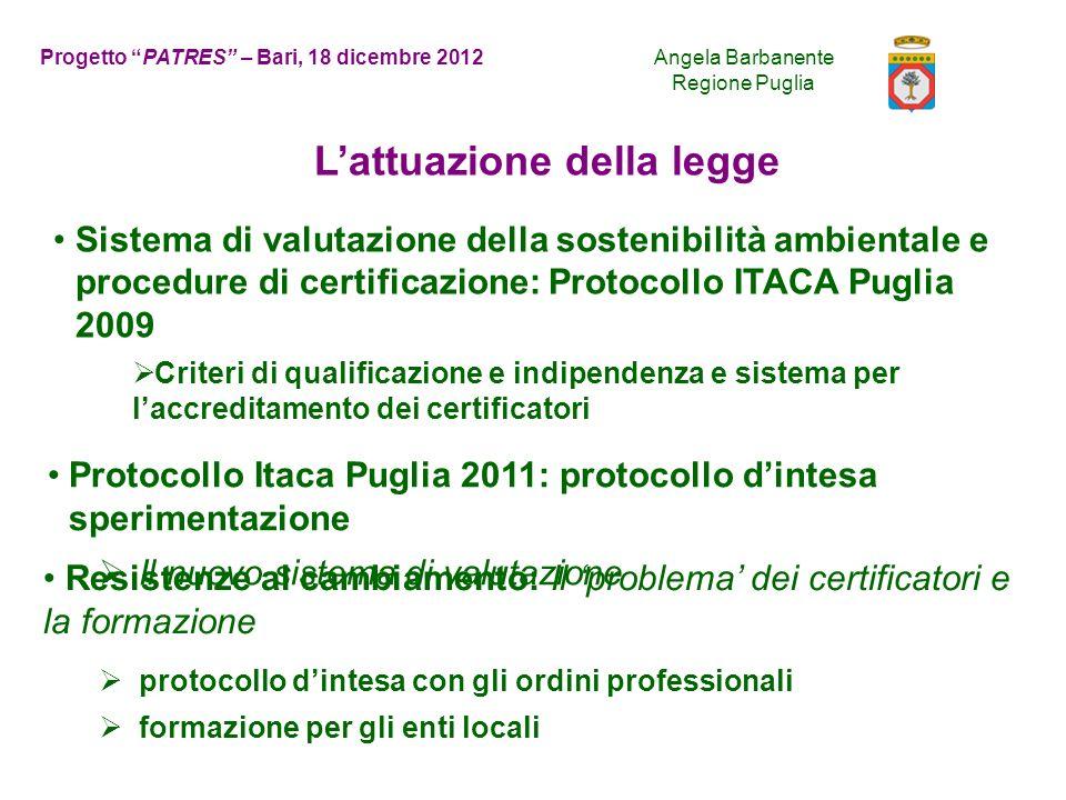 Novità Adeguamento ITACA nazionale 2011 Maggiore snellezza e facilità di applicazione: 34 criteri Recupero oltre a nuova costruzione articolazione del punteggio di valutazione in due valori: localizzazione vs.