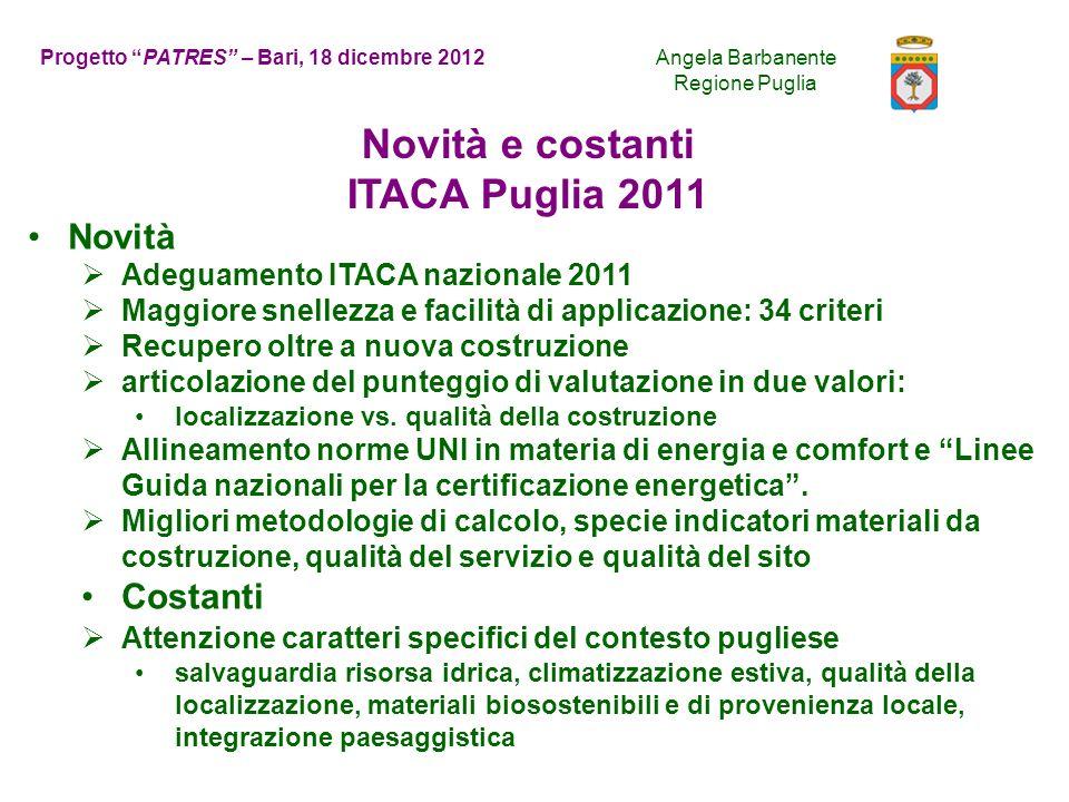 Regione Puglia Qualità del sito15% Consumo di risorse40% Carichi ambientali20% Qualità ambientale indoor20% Qualità del servizio 5% ITACA Puglia 2011