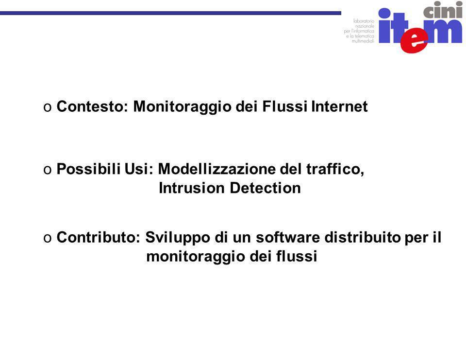o Possibili Usi: Modellizzazione del traffico, Intrusion Detection o Contesto: Monitoraggio dei Flussi Internet o Contributo: Sviluppo di un software distribuito per il monitoraggio dei flussi