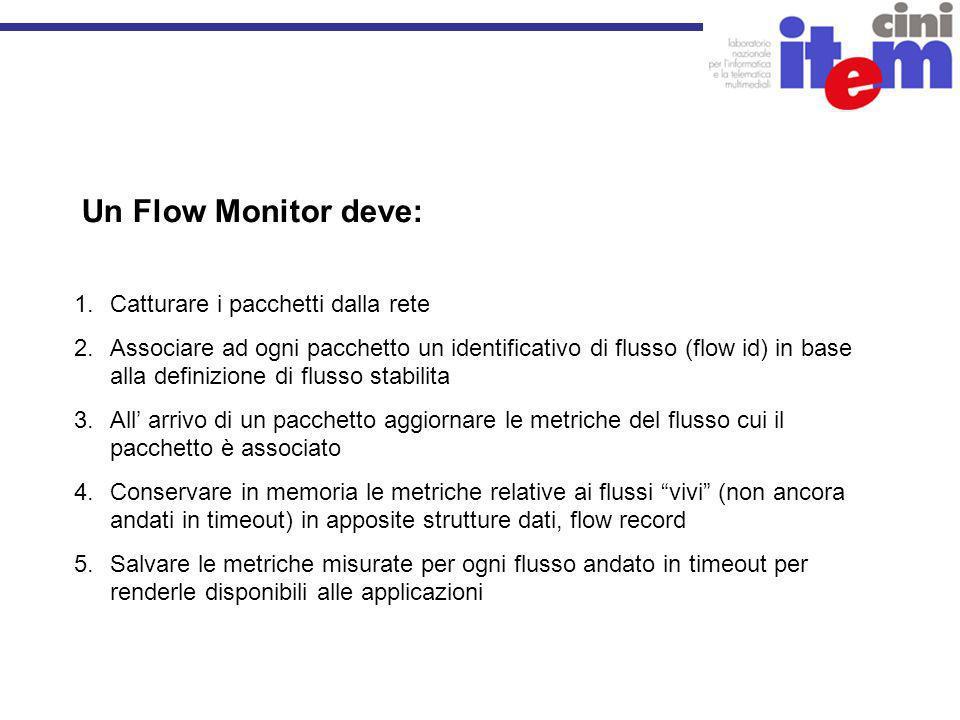 Un Flow Monitor deve: 1.Catturare i pacchetti dalla rete 2.Associare ad ogni pacchetto un identificativo di flusso (flow id) in base alla definizione di flusso stabilita 3.All arrivo di un pacchetto aggiornare le metriche del flusso cui il pacchetto è associato 4.Conservare in memoria le metriche relative ai flussi vivi (non ancora andati in timeout) in apposite strutture dati, flow record 5.Salvare le metriche misurate per ogni flusso andato in timeout per renderle disponibili alle applicazioni