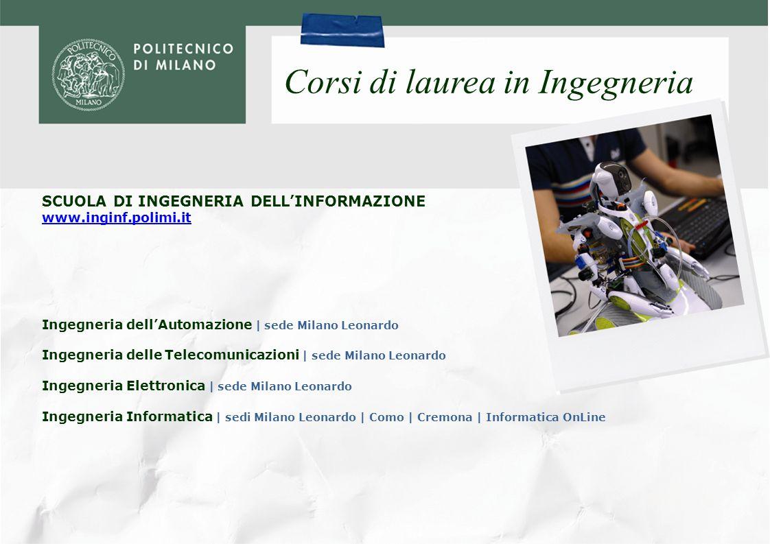SCUOLA DI INGEGNERIA INDUSTRIALE www.ingind.polimi.it Corsi di laurea in Ingegneria Ingegneria Aerospaziale | sede Milano Bovisa Ingegneria Energetica