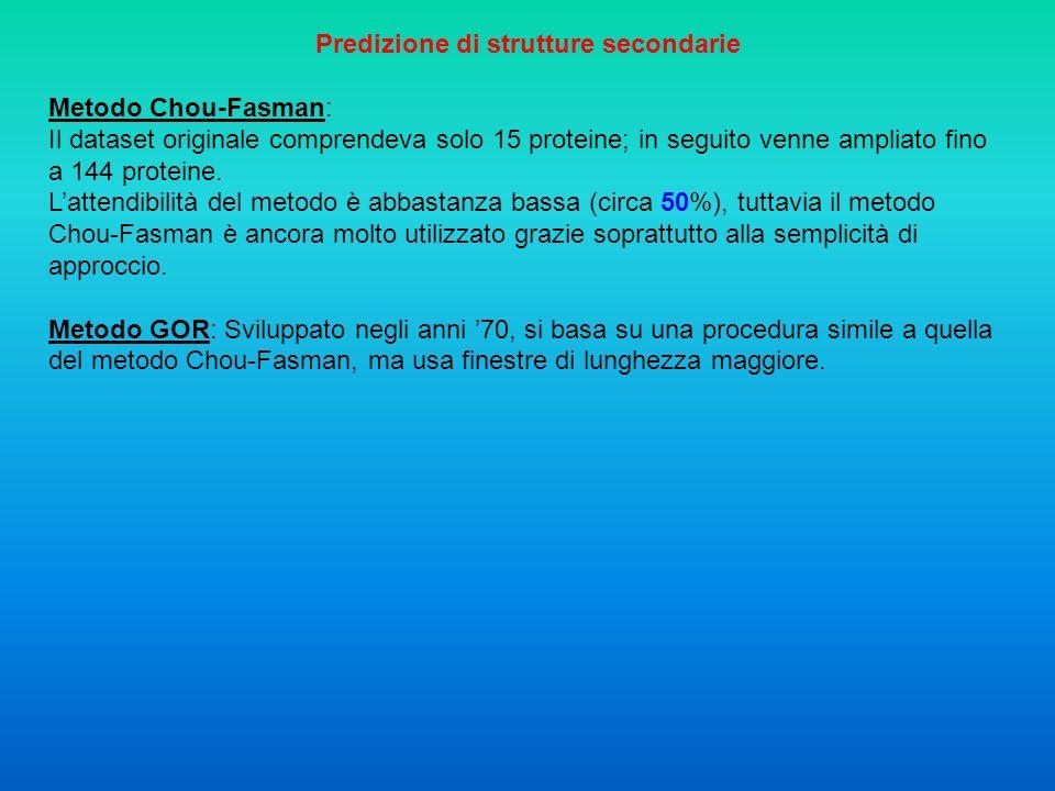 Caratteristiche chimico-fisiche e riconoscimento di pattern: Metodi di predizione che si avvalgono del riconoscimento di pattern strutturali specifici o di caratteristiche chimico-fisiche per identificare la presenza di elementi di struttura secondaria.