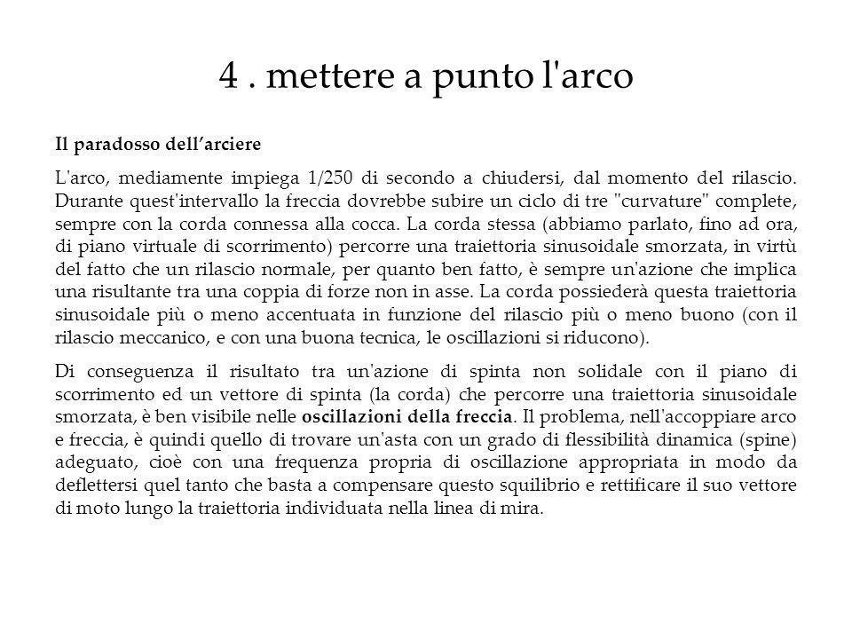 4. mettere a punto l'arco Il paradosso dellarciere L'arco, mediamente impiega 1/250 di secondo a chiudersi, dal momento del rilascio. Durante quest'in
