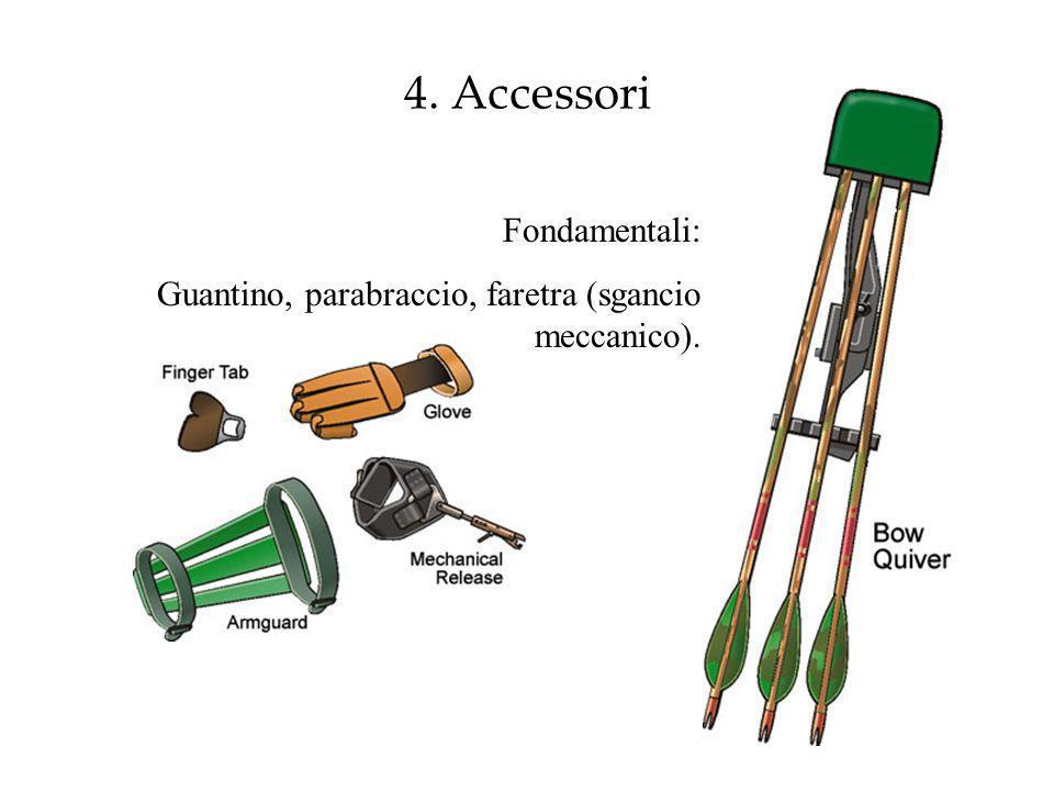 4. Accessori Fondamentali: Guantino, parabraccio, faretra (sgancio meccanico).