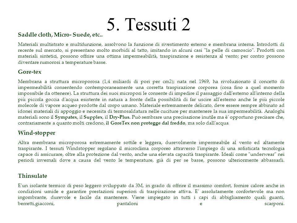 5. Tessuti 2 Saddle cloth, Micro- Suede, etc.. Materiali multistrato e multifunzione, assolvono la funzione di rivestimento esterno e membrana interna
