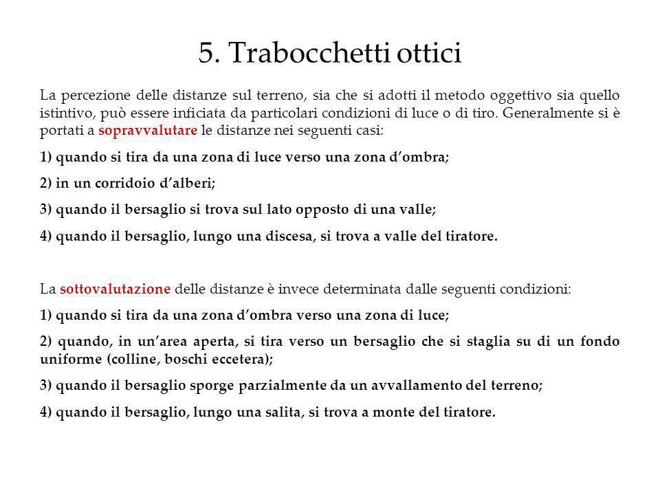 5. Trabocchetti ottici La percezione delle distanze sul terreno, sia che si adotti il metodo oggettivo sia quello istintivo, può essere inficiata da p