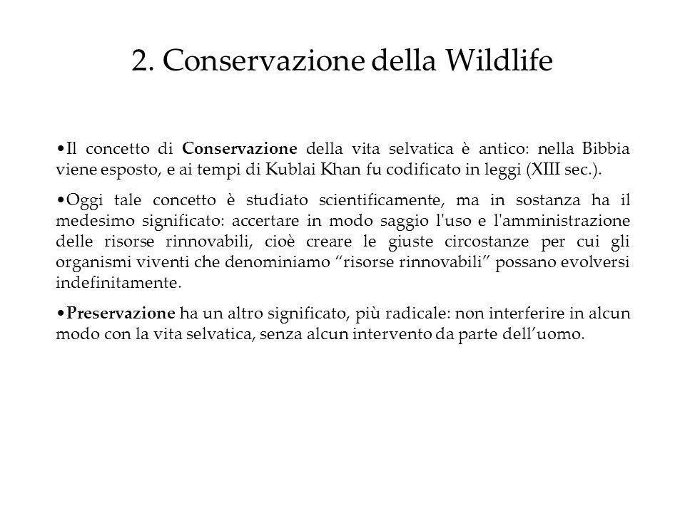 2. Conservazione della Wildlife Il concetto di Conservazione della vita selvatica è antico: nella Bibbia viene esposto, e ai tempi di Kublai Khan fu c