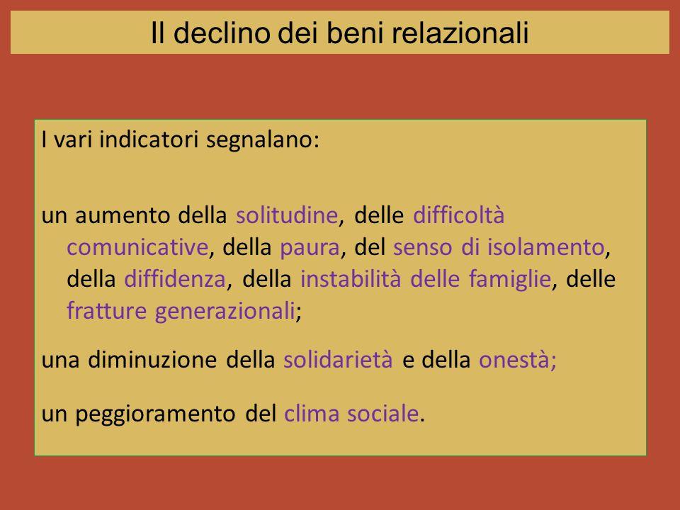 I vari indicatori segnalano: un aumento della solitudine, delle difficoltà comunicative, della paura, del senso di isolamento, della diffidenza, della