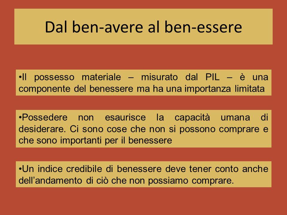 Dal ben-avere al ben-essere Il possesso materiale – misurato dal PIL – è una componente del benessere ma ha una importanza limitata Un indice credibil