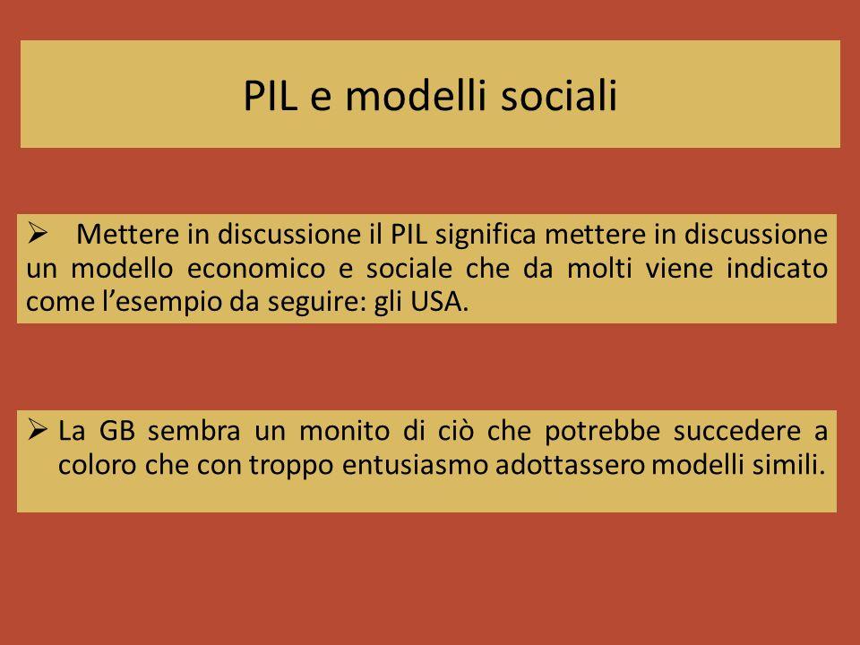 PIL e modelli sociali La GB sembra un monito di ciò che potrebbe succedere a coloro che con troppo entusiasmo adottassero modelli simili. Mettere in d