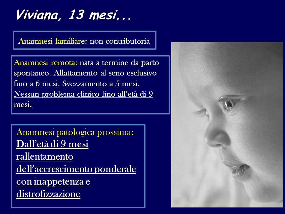 Viviana, 13 mesi... Anamnesi familiare: non contributoria Anamnesi remota: nata a termine da parto spontaneo. Allattamento al seno esclusivo fino a 6