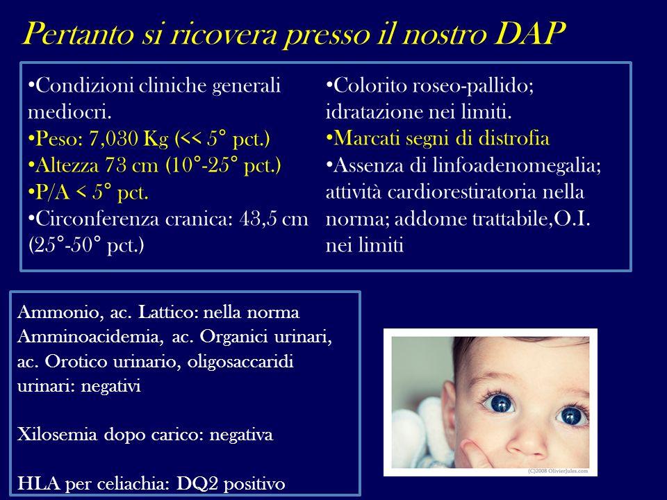 Pertanto si ricovera presso il nostro DAP Condizioni cliniche generali mediocri. Peso: 7,030 Kg (<< 5° pct.) Altezza 73 cm (10°-25° pct.) P/A < 5° pct