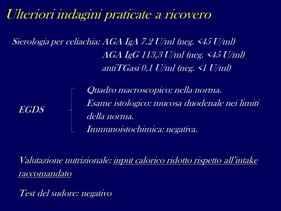 Quadro macroscopico: nella norma. Esame istologico: mucosa duodenale nei limiti della norma. Immunoistochimica: negativa. Sierologia per celiachia: AG