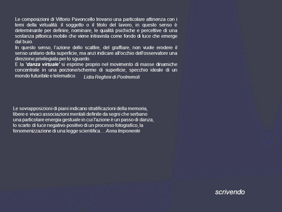 scrivendo Le composizioni di Vittorio Pavoncello trovano una particolare attinenza con i temi della virtualità: il soggetto o il titolo del lavoro, in