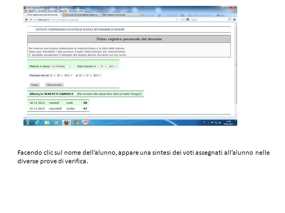 Facendo clic sul nome dellalunno, appare una sintesi dei voti assegnati allalunno nelle diverse prove di verifica.