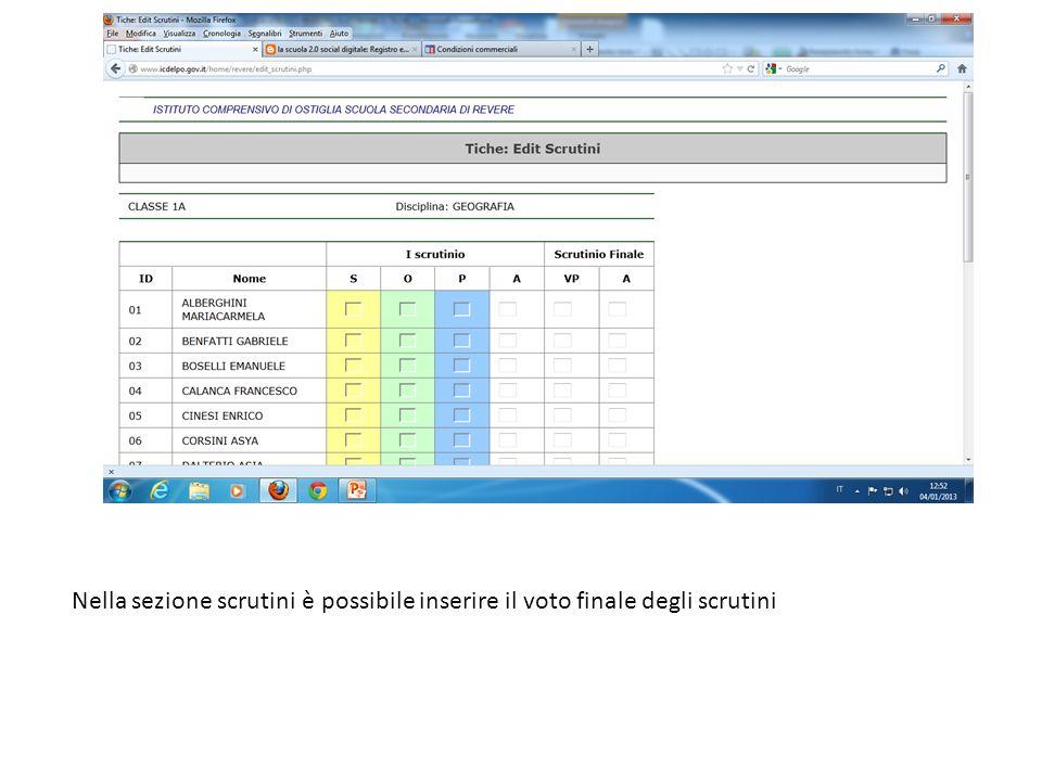Nella sezione scrutini è possibile inserire il voto finale degli scrutini