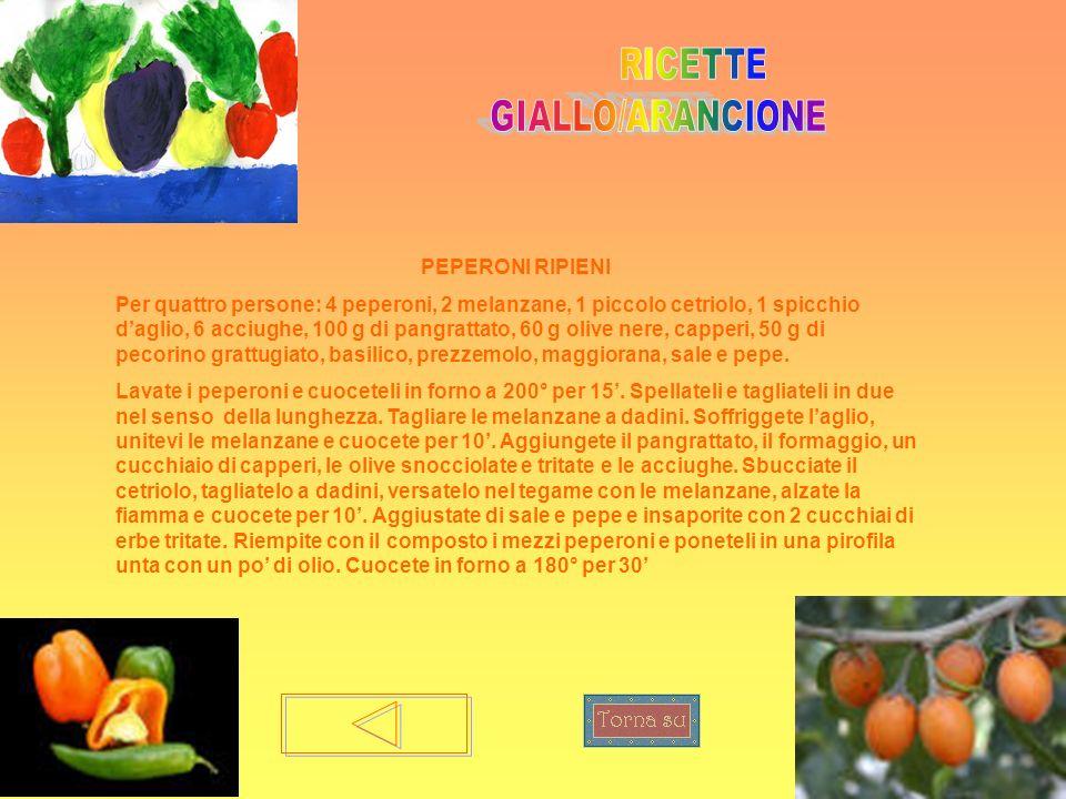 PEPERONI RIPIENI Per quattro persone: 4 peperoni, 2 melanzane, 1 piccolo cetriolo, 1 spicchio daglio, 6 acciughe, 100 g di pangrattato, 60 g olive ner