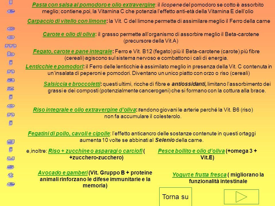 Pasta con salsa al pomodoro e olio extravergine: il licopene del pomodoro se cotto è assorbito meglio; contiene,poi, la Vitamina C che potenzia leffet